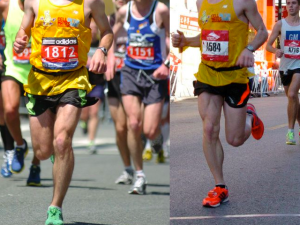 Race photos 6 months apart in 2010. Unshaved on the left. Shaved on the right. I'd also like to compliment myself on the amazing color coordination I rocked for these races.